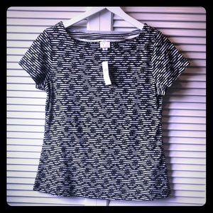 NWT Small Anthropologie T-shirt in black and white